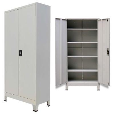Steel Office File Storage Cabinet Locker Cupboard With 2 Doors 90x40x180 Cm