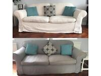 Two Sofas with Grey and/or Cream covers