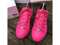 Balenciaga pink low top arena trainers size 4