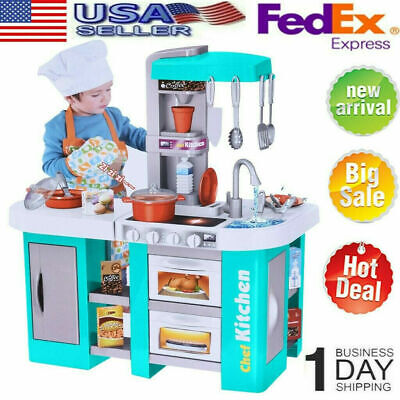 Kitchen Play Set Pretend Baker Kids Toy Cooking Playset Girls Food Gift NEW BLUE