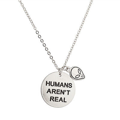 Lux Accessories Alien Head Humans Aren't Real They Exist Pendant Necklace.