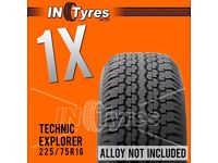 1x 225/75R16 Technic Explorer AT Tyre All Terrain 225 75 16 A/T 4x4 Tyres