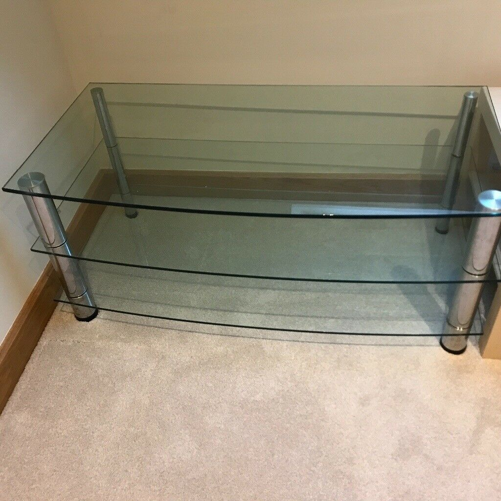 Large Glass and chrome tv stand with shelves