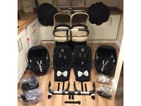 Immaculate Bugaboo Donkey Twin 2 Maxi Cosi Car Seats Parasols Carrycots Bows +++