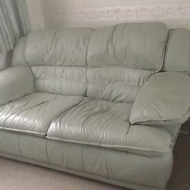 Leather 2 seater sofa and matching footstool