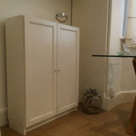"White Ikea ""Billy"" bookcase / cupboard with doors"