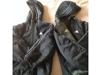 Two addidas fleece lined boys coats age 9/10 yrs twins