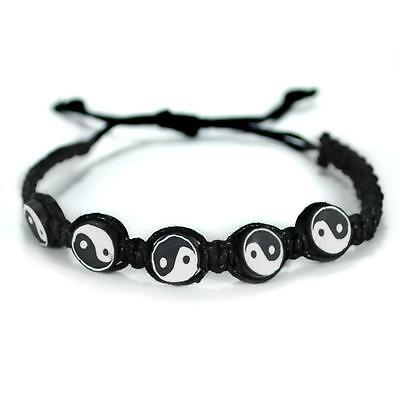 YIN YANG BRACELET Adjustable Surfer Fimo Bead Tai Chi Hemp Handmade Black White