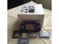 NINTENDO GAMEBOY ADVANCE WITH BRAND NEW TRAVEL PACK AND 4 GAMES