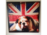 Bulldog/Union Jack print on canvas.