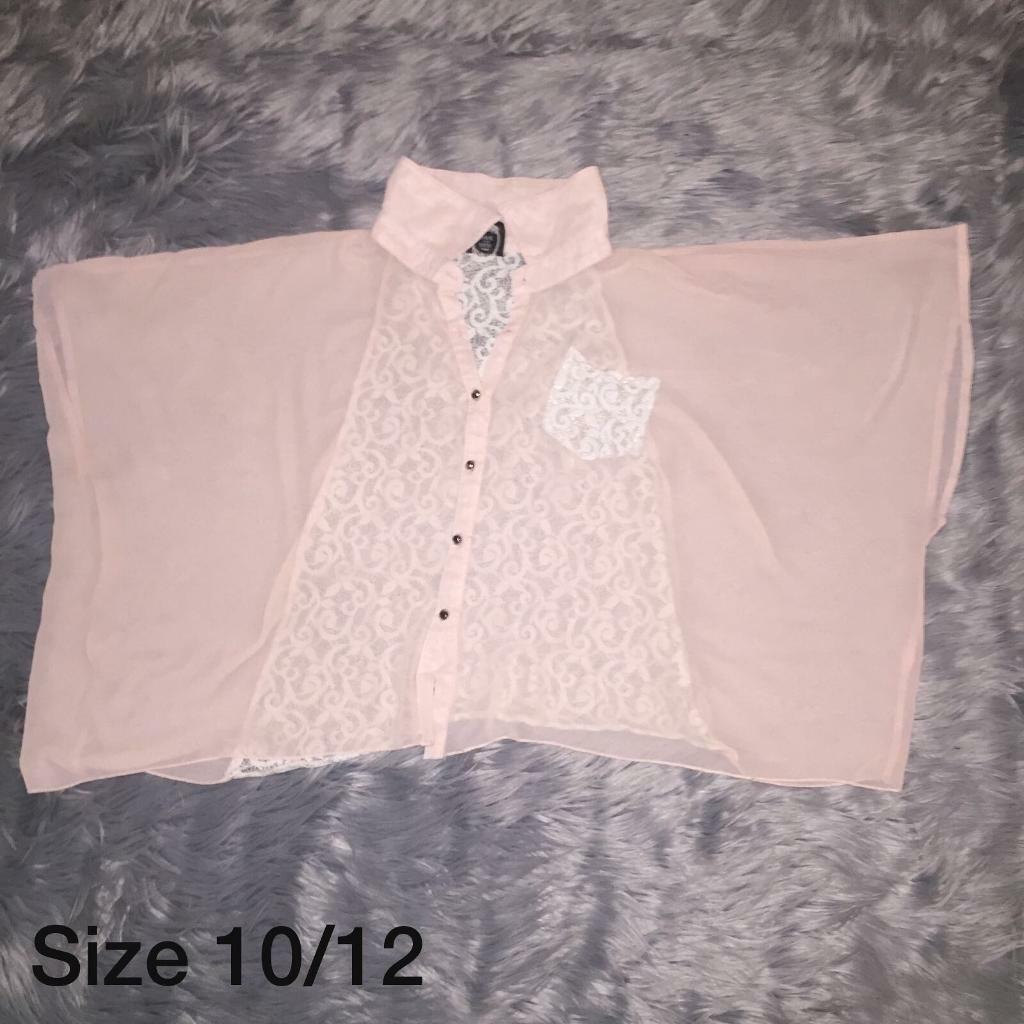 Size 10/12 Sheer and lace blouse