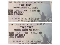 Two seats for Take That in Glasgow on 13 May 2017