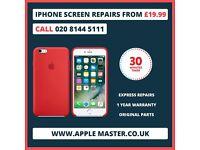 iPhone 7 Screen Repair £59.99 in 30 Minutes 7, 6, 6s, 5,5s,4s Plus + Express Quick Apple Fix Service