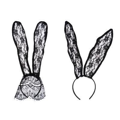 Black Lace Rabbit Bunny Ears Headband Halloween Costume Party Sexy Head Band (Black Rabbit Halloween)