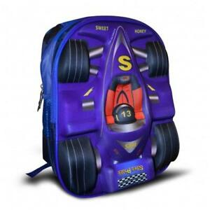 Todd Baby Race 3D School Bag Rucksack 15 Inch Backpack for Boys [ Blue ]