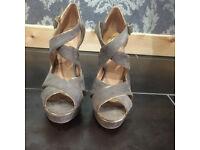 shoes heels size 6 mink colour