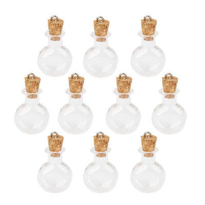 Small Glass Jars Bulk (Bulk 10Pcs Small Empty Round Flat Cork Glass Wish Bottles Vials Jars)