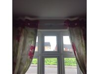 """NEXT pink/green floral curtains. Size 53""""x91"""""""
