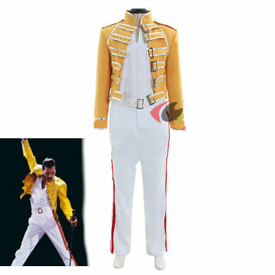 Queen Lead Vocals Freddie Mercury Cosplay costume queen band yellow outfit  H.08 - Freddie Mercury Outfit