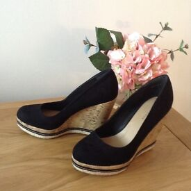 Black Wedges Shoes Size 5 New
