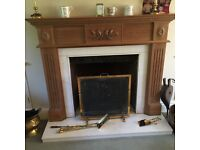 Superb Quality Pine Fire Surround and white Marble Hearth