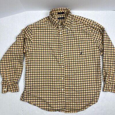 Nautica Mens Oxford Shirt Yellow Black Plaid Long Sleeve 100% Cotton L