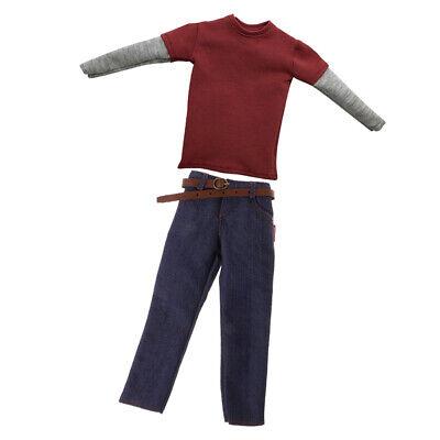 1: 6 Pantalones Vaqueros Para Hombres Y Camiseta Roja De Manga Larga...