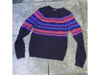 Topman black wool knitted jumper size xs