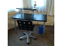 small brown/black desk with chair lamp and paper bin can deliver