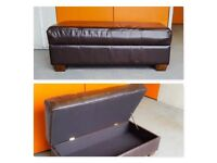Real Leather Storage Trunk Puff Bench Ottoman Rectangular