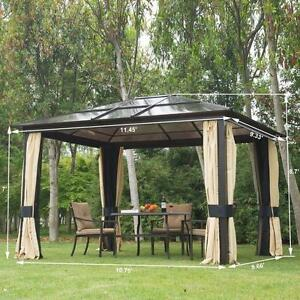 12'L x 10'W Gazebo Canopy Sunshelter Waterproof w/ Sidewalls Mosquito Nesting / hardtop gazebo tent for sale / outdoor