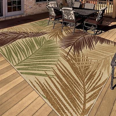 """5x8 (5'2"""" x 7'6"""") Tropical Coastal Island Beach Palm Indoor Outdoor Area Rug"""