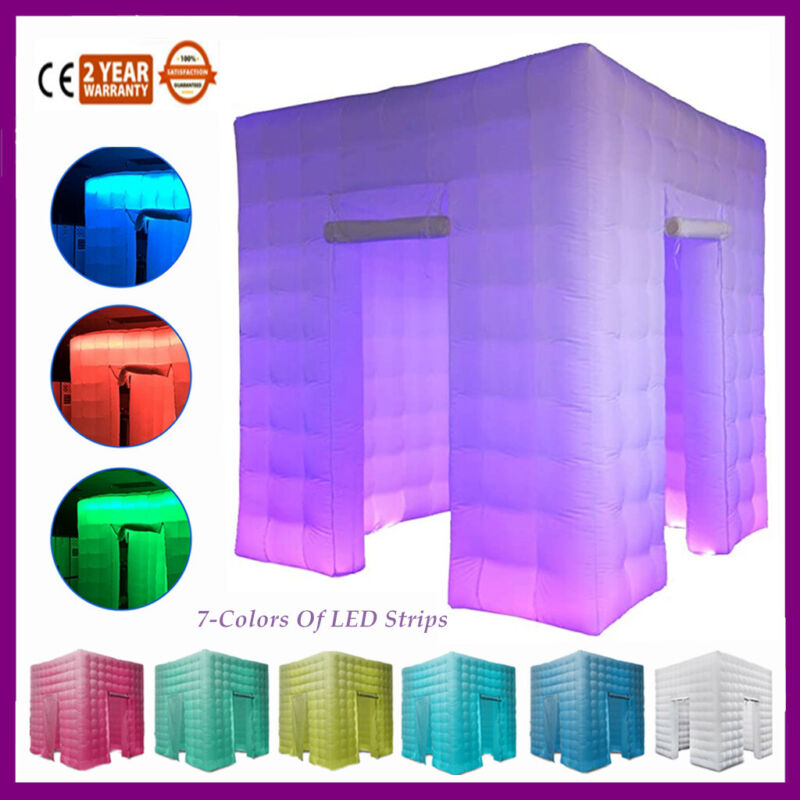 2 Door Inflatable LED Air Pump Photo Booth Tent 7 Colors Fun Party 8.2FT Wedding