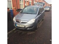 7 seater Vauxhall zafira 08 plate in silver/grey