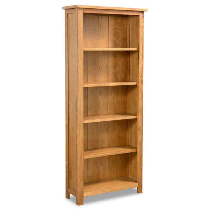 vidaXL Solid Oak Wood 5-Tier Bookcase Book Shelves Cabinets Display Shelf