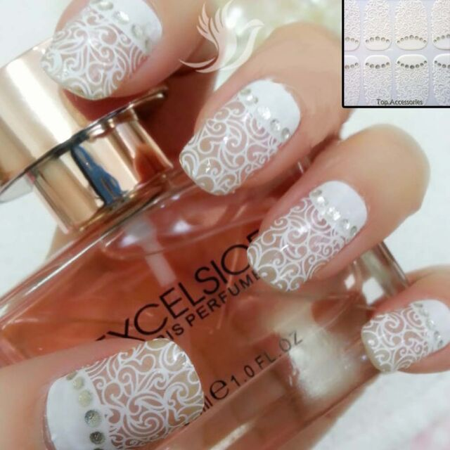 3d White Lace Transparent Nail Art Rhinestone Sticker Flower Floral ...