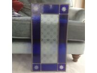 Victorian style decorative stained and leaded glass window or door panel