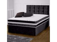 DOUBLE BED SIZE CRUSHED VELVET DIVAN BED BASE AND MATTRESS - STORAGE DRAWS HEADBOARD