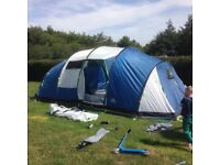 8 man tent with extension and carpet reluctant sale due to upgrade to caravan
