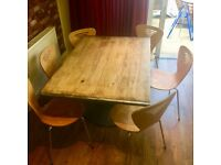 Solid Beech Wood Table and 6 Bistro Style chairs - Table is solid beech and heavy - Can Deliver