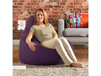 Large Gaming Bean Bag Recliner Indoor-Outdoor and Foot Stool - Purple