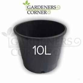 30 x 10L LITRE BLACK PLASTIC PLANT FLOWER POT POTS SOIL COCO HYDROPONICS UK