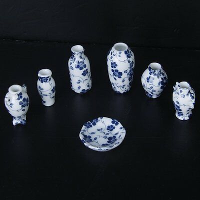 Купить 1/12 Dollhouse Miniatures Ceramics Porcelain Vase Blue Vine -7 piece