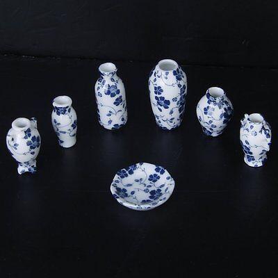 Купить 1/12 Dollhouse Miniatures Ceramics Porcelain Vase Blue Vine -7 piece