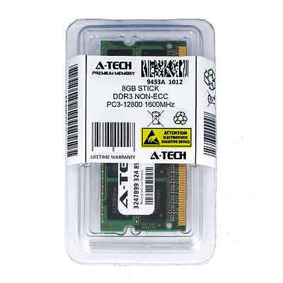 Atech 8GB SODIMM DDR3 Laptop PC3-12800 12800 1600MHz 1600 204-pin Ram Memory