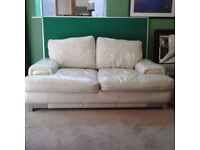White Leather Funky 2 Seater Sofa