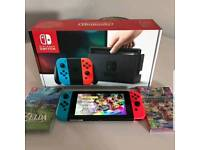 Nintendo switch plus 2 games and carry case
