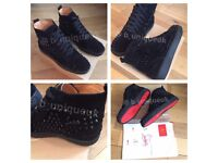 Christian Louboutin Black Suede Trainers Men's Women's Boys Girls Sneakers Shoes Loubs Various Sizes