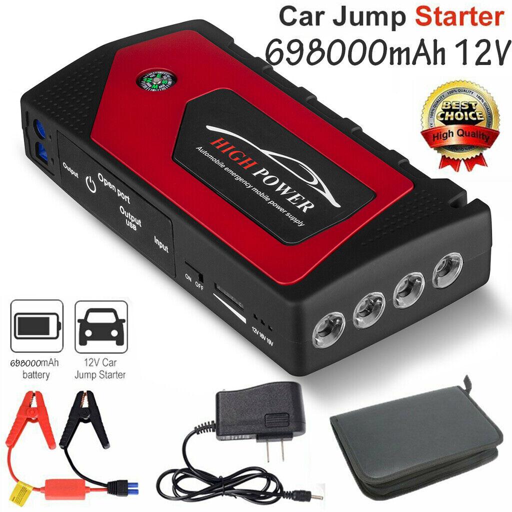 12V 69800mAh Car Jump Starter Portable USB Power Bank Battery Booster Clamp 600A