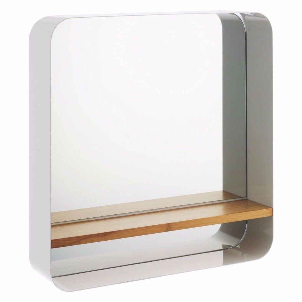 Habitat Bethany White Mirror with Bamboo Shelf RRP £100